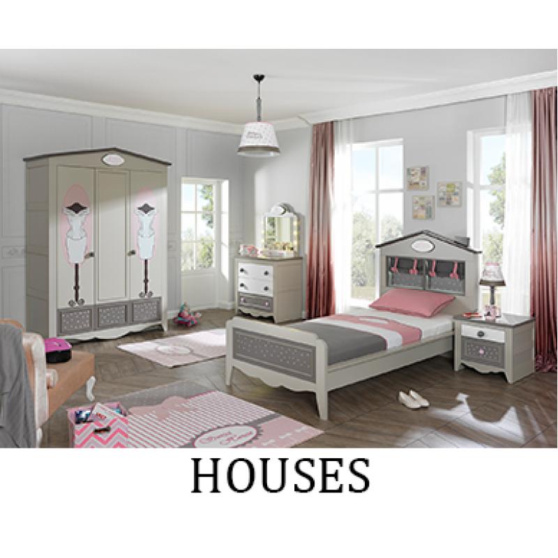 Обзавеждане на детска стая HOUSES - стартов вариант с легло за матрак 100 х 200 см и трикрилен гардероб