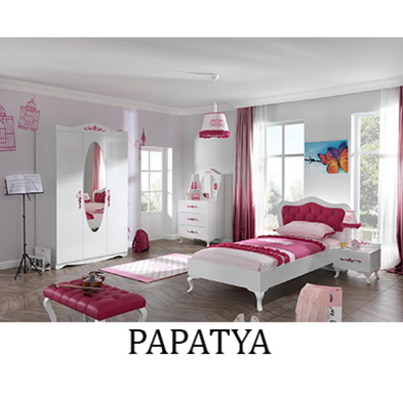 Обзавеждане на детска стая PAPATYA - стартов вариант с легло за матрак 100 х 200 см и трикрилен гардероб
