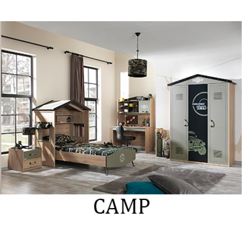 Обзавеждане на детска стая CAMP - стартов вариант с легло за матрак 100 х 200 см и трикрилен гардероб